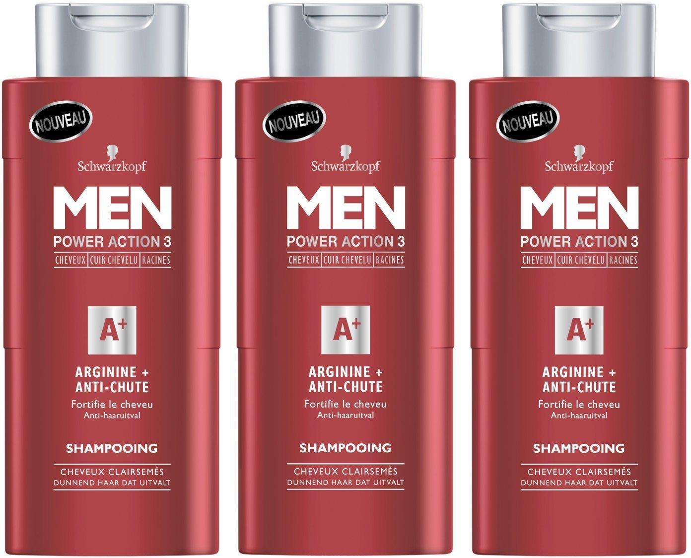 Schwarzkopf MEN – Shampooing ANTI-CHUTE – ARGININE+ pour Homme 250 ml – Lot de 3