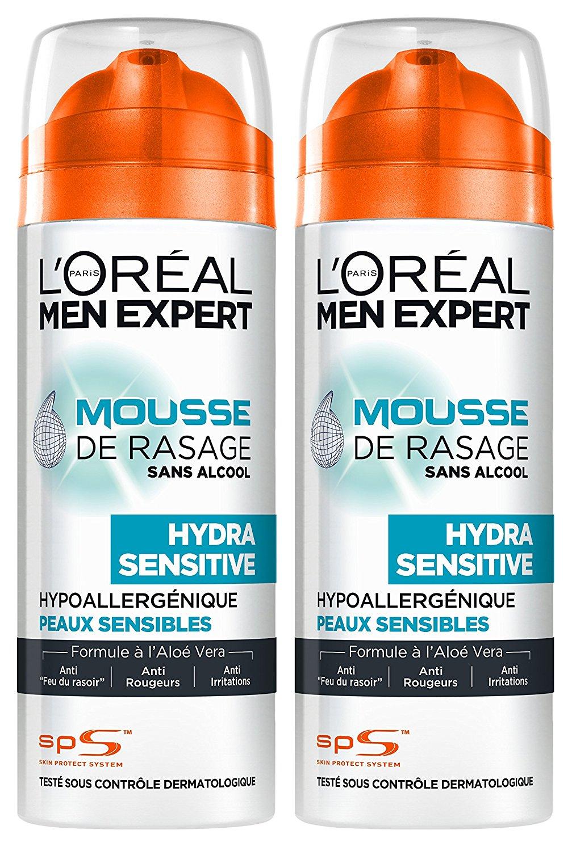 L'Oréal Men Expert Mousse à Raser Hydra Sensitive Peaux Sensibles 200 ml – Lot de 2