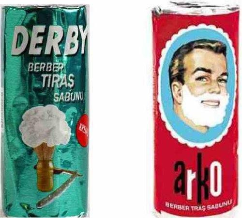 Stick de savon à barbe ARKO et DERBY idéal pour les hommes aimant le rasage traditionnel!