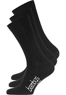Lot de 3 paires de chaussettes BAMBOUS – pointe remaillée main – sans élastique – homme – noir
