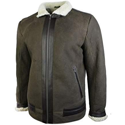 Veste manteau peau de mouton retournée véritable marron foncé style vintage